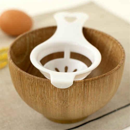 Novo branco de plástico aço ovo branco gema separador separador titular peneira cozinhar bolo ferramenta conveniente gadget