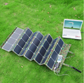 120W Foldable fabric solar panel charger  USB and 12Vdc output with Charge controller and crocodile clips for battery