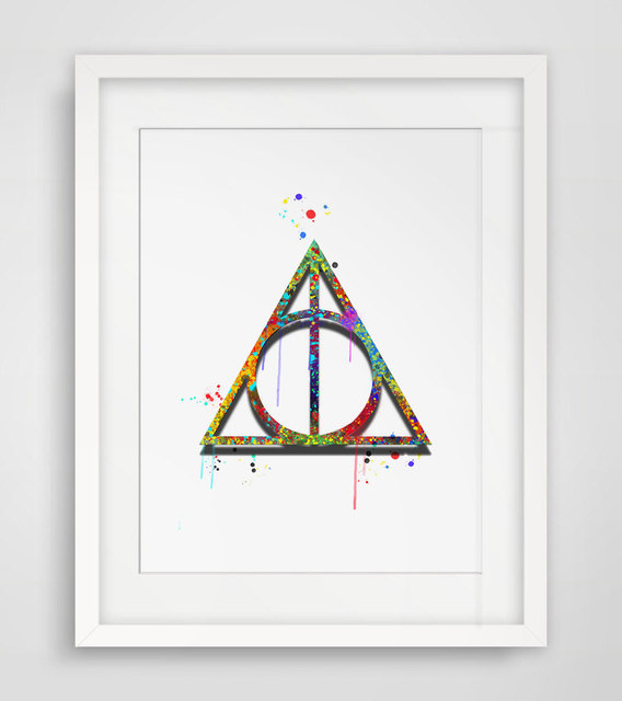 Deathly Hallows Art Print Watercolor Wall Hanging Harry Potter Watercolor Deathly Hallows Art Paper Poster Wall Decor AP053