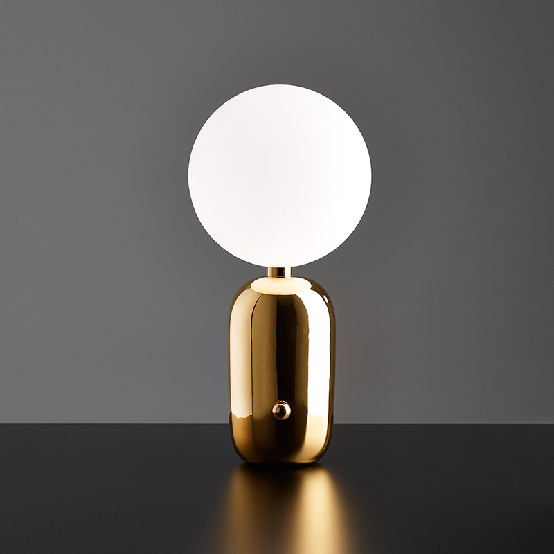 LukLoy Postmodern Creative Table Lamp Bedroom Bedside Nordic Minimalist Table Lamp Warm Lighting Sensory Switch Glass Ball Lamp|LED Table Lamps| |  - title=