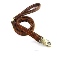 HSWLL Cowhide leather double layer thick dog leash dog chain training rope for medium and large dogs Durable German Shepherd