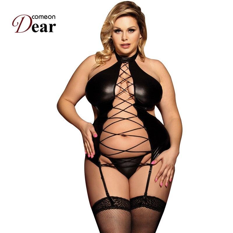 Coméonchère Nuisette Grande Taille Sexy dame Faux cuir Tenue Sexy érotique Porno évider Porno Costumes Sexy Lingerie RJ80467