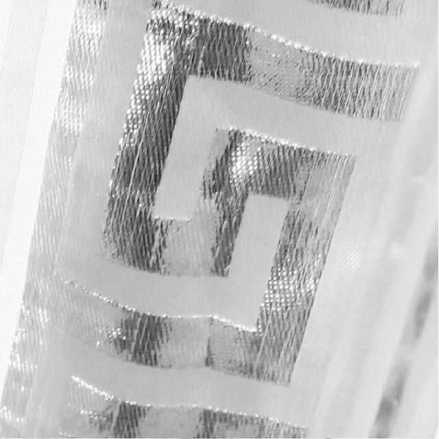 Grigio Argento Tulle Per Soggiorno camera Da Letto Moderna Cinese Disegno Geometrico Lane e Filati Tinto Tenda della Finestra di Casa Del Voile Tende wp239-40