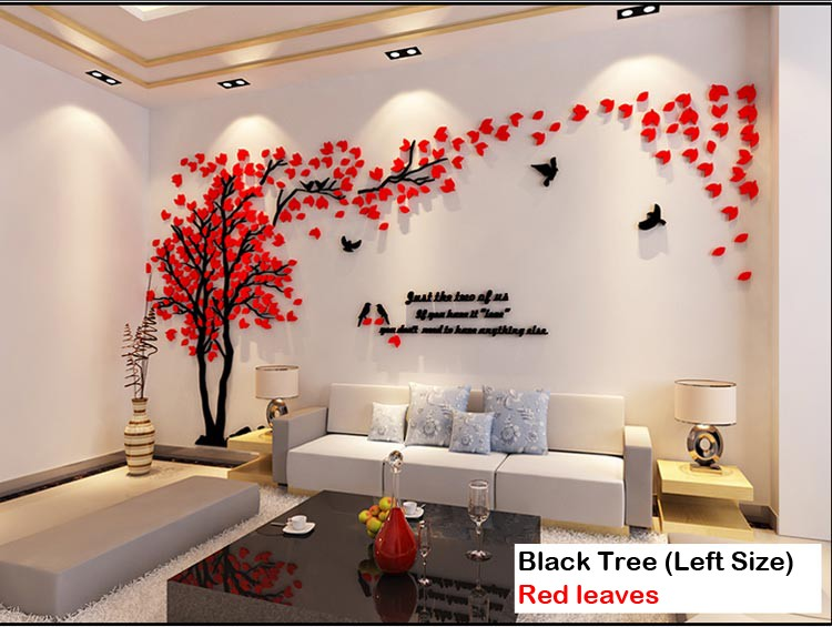 Leaves birds crystal three-dimensional Tree wall stickers acrylic - Home Decor - Photo 2
