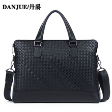 DANJUE 2016 Genuine Leather Briefcase men handbag Handmade Knitted briefcases laptop bags Shoulder Bag Tote Messenger bag 317