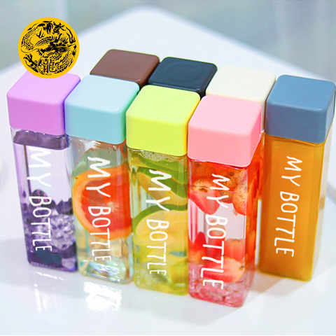 Square Plastic My bottle 500ml for Water Bottles to drink with Rope Transparent or Frosted Sport Korean style Heat resistant Lahore