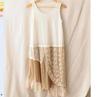 Giapponese mori girl style spring & summer di media lunghezza slittamento sleeveless asimmetrico del merletto di base dress per le donne dress w579