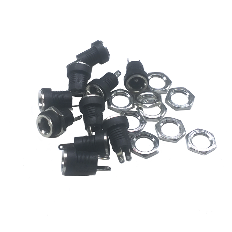 10 PCS/LOT DC022B 3A 12v DC Power Supply Jack Socket Female Panel Mount Connector 5.5X 2.1mm Plug Adapter 2 Pins 5.5*2.1 DC-022B