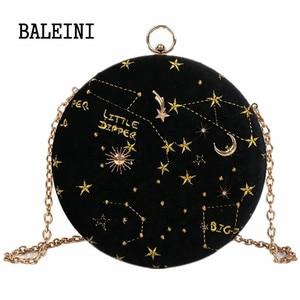 Image 2 - 2020 별이 빛나는 하늘 원형 패션 스웨이드 숄더 백 체인 벨트 여성 크로스 바디 메신저 가방 숙녀 지갑 여성 라운드 핸드백