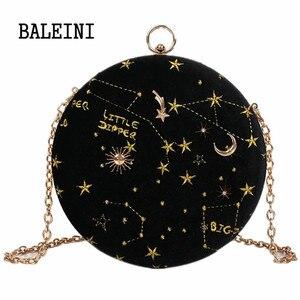 Image 2 - 2020Starry sky Circular Fashion Suede ramię łańcuch torby pas damskie torby kurierskie typu Crossbody torebka damska okrągła torebka