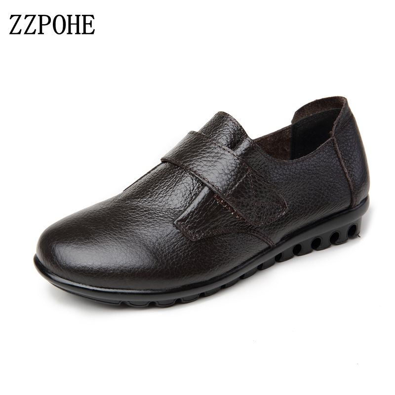 ZZPOHE 2017 Woman Genuine Leather flats Shoes Fashion Casual Slip On Women Plus Size Driving Shoes Soft Comfortable Mother shoes new fashion luxury women flats buckle shallow slip on soft cow genuine leather comfortable ladies brand casual shoes size 35 41