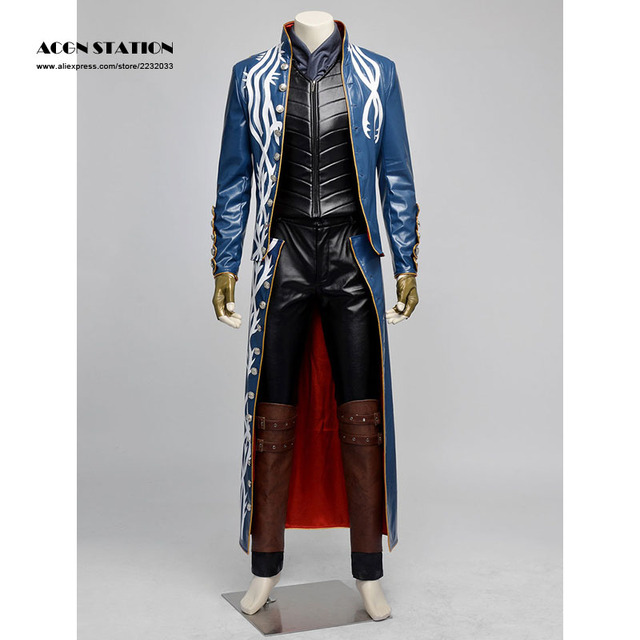 Free Shipping Blue Devil May Cry Vergil Cosplay Costume Kids and Adult Costume