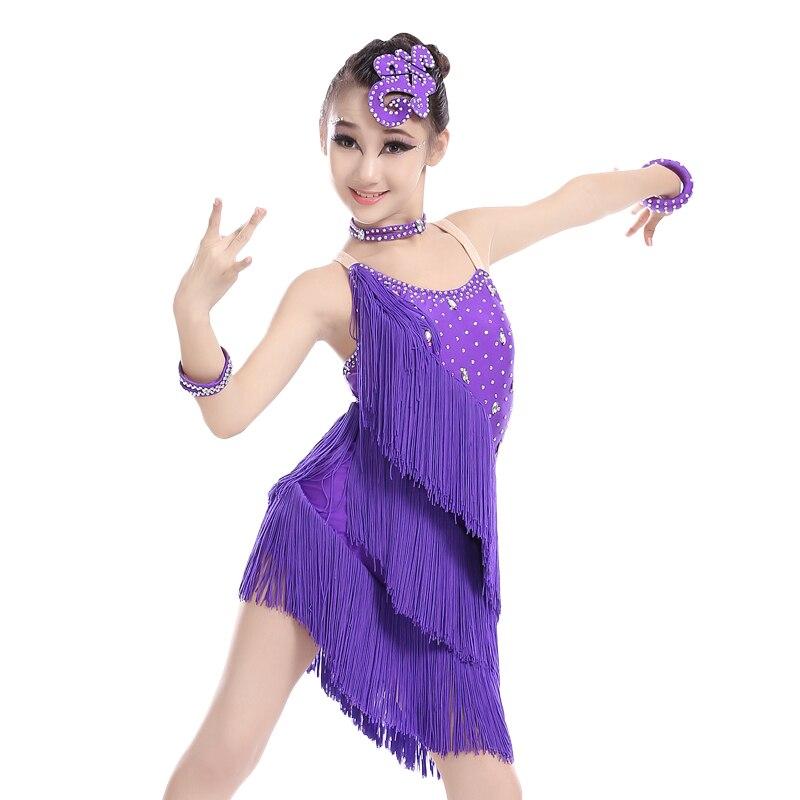 Niños Niñas Sexy lentejuelas vestido Salsa Dancewear traje de la ...