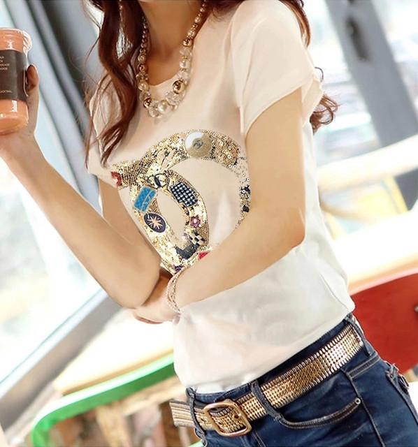 Nova camiseta verão 2015 as mulheres marca de moda t-shirt de manga curta manga o pescoço beading algodão bonito tops tees camiseta feminina ropa mujer