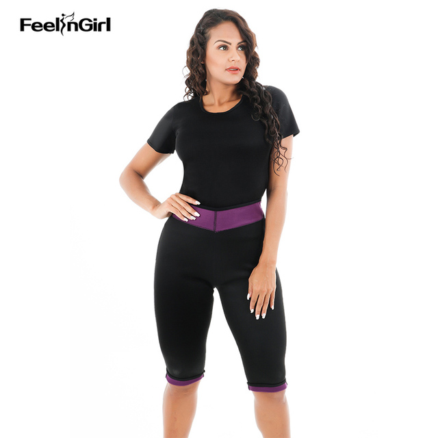 5631f0a7b5cbc FeelinGirl (Pant + Top) New Neoprene Body Shaper Short Sleeve Waist Trainer  Cincher Sleepwear Set Bodysuit Hot Shapers Pants C