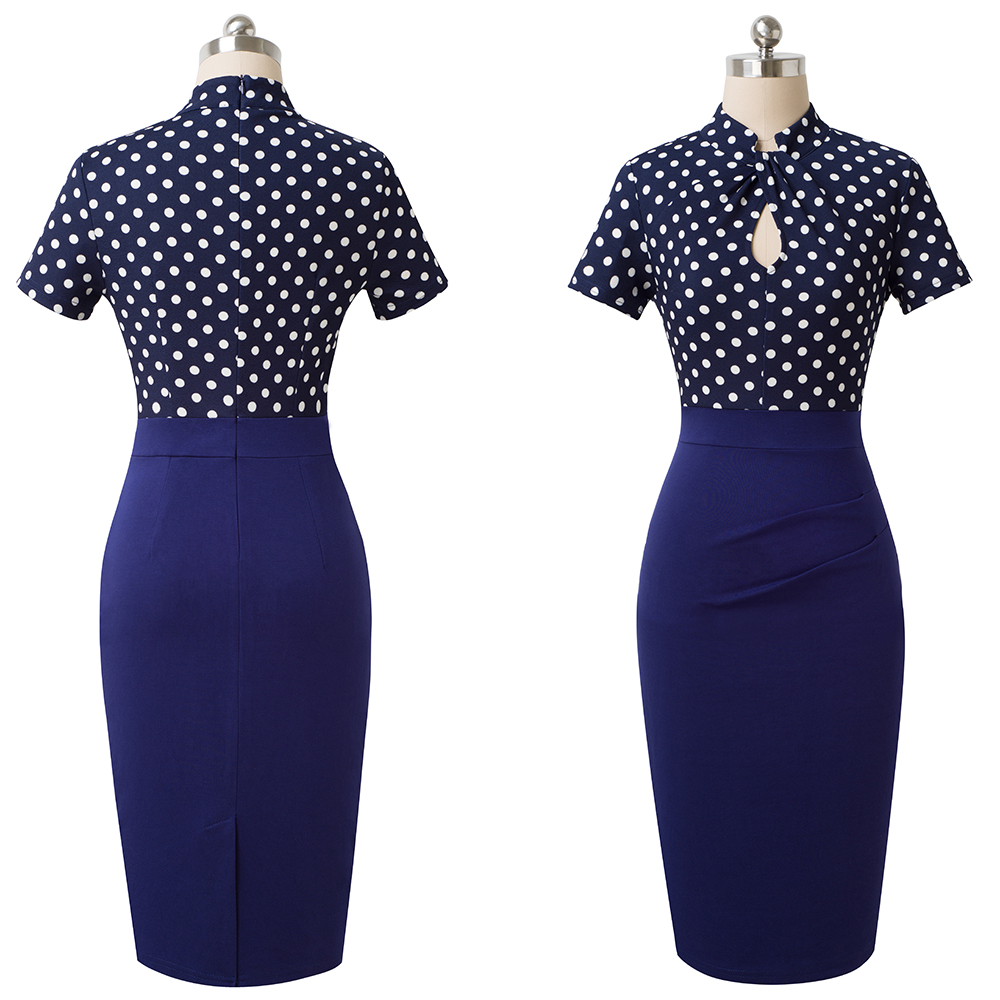 Elegant Work Office Business Drapped Contrasting Bodycon Slim Pencil Lady Dress Women Sexy Front Key Hole Summer Dress EB430 46
