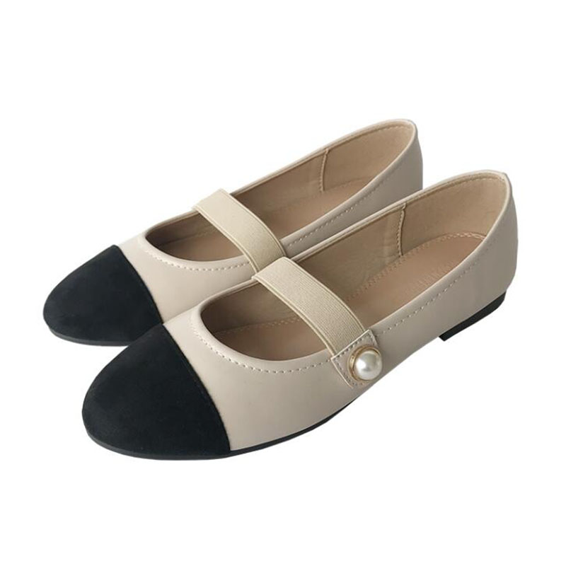 New Women Color Matching Mary Jane Ballet Shoes Pearl Fashion High Quality Basic Round Toe Ballerina Flat Slip On Shoes