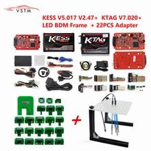 Mais novo ktag v2.23 7.020 versão ilimitada kess v5.017 v2.47 k tag mestre ecu ferramenta de programação com 22 pces adaptadores bdm
