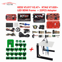 Newest KTAG V2.23 7.020 Unlimited Version KESS V5.017 V2.47 K TAG Master ECU Programming Tool with 22pcs BDM Adapters