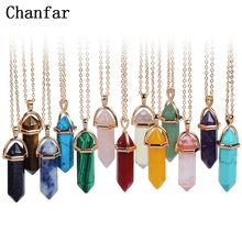 Chanfar-colliers en pierre naturelle en forme de balles, pendentif en cristal, ras du cou, pour femmes, bijoux