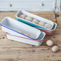 Japanese style porcelain enamel rectangular baking tray home baked cheese cake mold bread loaf pan pizza pie biscuit dish