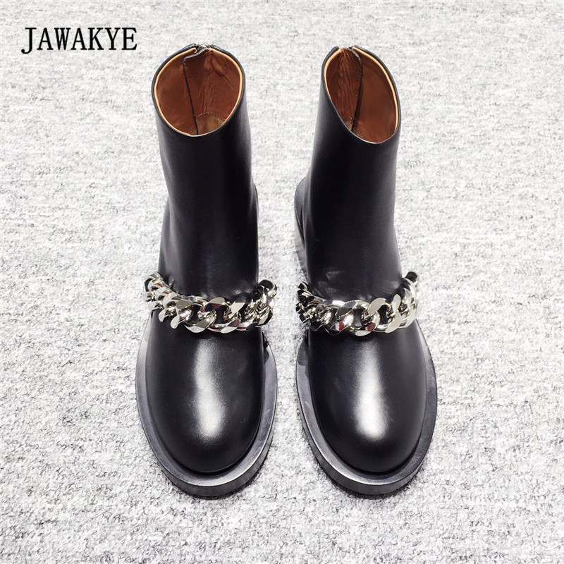 2017 Newest Chain Martin Boots Woman Round Toe Silver Gold Metal Chain Black Real Leather Short Boots Back Zipper Ankle Boots цена