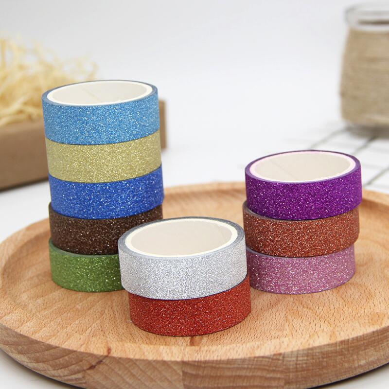 1.5cmx3M Adhesive Silver Golden Glitter Washi Tape Scrapbooking Christmas Party Kawaii Cute Decorative Paper Crafts Gift Sticker