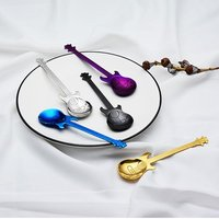 YHYS Guitar Coffee Teaspoons, 7pcs Colorful Stainless Steel Musical Coffee Spoons Teaspoons Mixing Spoons Sugar Spoon