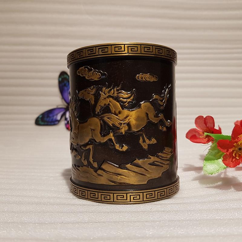 Vintage Chinese style bronze pen holder (6)