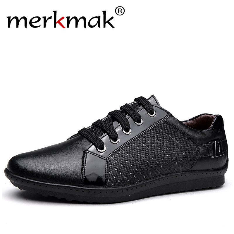 Merkmak Luxury Brand 2018 Summer New Men Shoes Breathable Holes Mens Genuine Leather Flat Shoes Comfortable Big Size 37-46 Flats