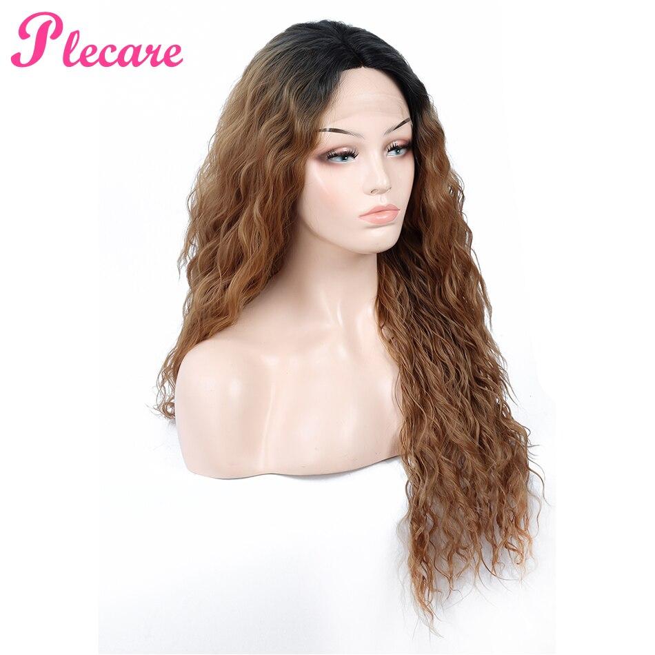 Plecare crépus bouclés sans colle haute température Fiber cheveux 28 pouces naturel blond synthétique dentelle avant perruques pour les femmes noires