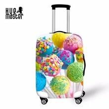 taske til kufferter cover kuffert taske bagage beskyttelsesdæksler rejsetilbehør 3D farverige lollipops lynlås klæde 18-30 tommer