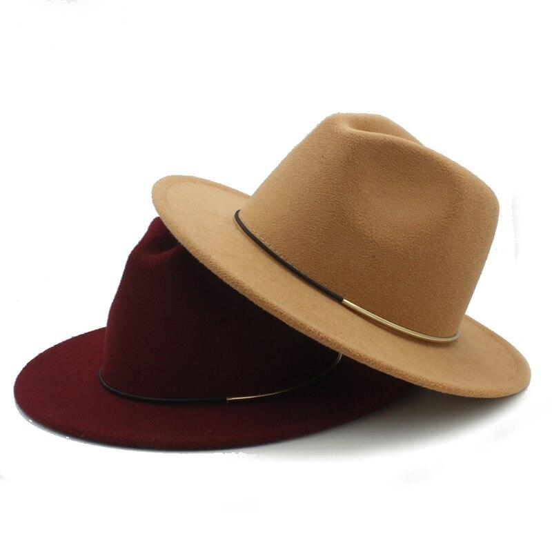 5d0a00e30ccb54 Fashion Wool Women Outback Fedora Hat For Winter Autumn ElegantLady Floppy  Cloche Wide Brim Jazz Caps