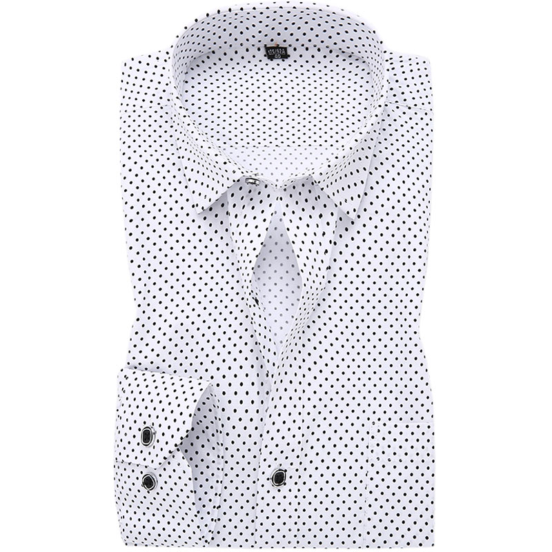Fashion Polka Dot Men Dress Shirts 100% Cotton Brand Long Sleeve ...