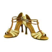 YOVE Dance Shoe Women's Latin/ Salsa Dance Shoe 3.5″ Flare High Heel More Color w136-6