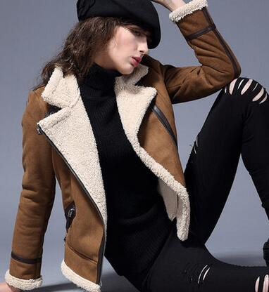5ac93e5c89920 Winter Women Suede Jackets Long Designer Leather Jacket Women Shearling  Coats Warm Turn Collar Vintage Overcoat Plus Size A1779