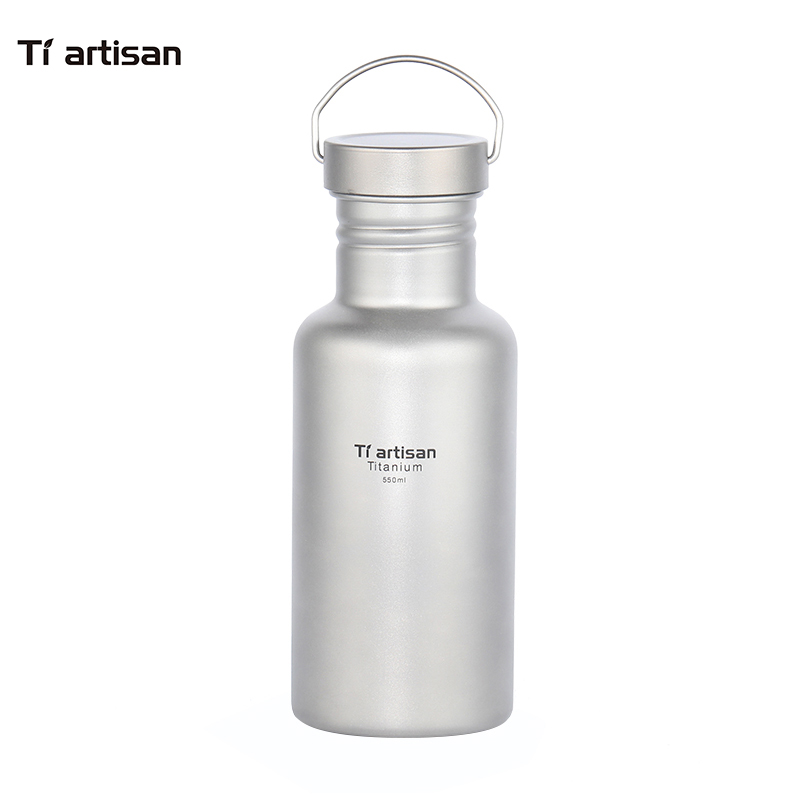 Tiartisan 550ml Titanium Water Bottle Outdoor Camping Hiking Titanium Climbing Sports Bottle Ultralight home bottle Two Covers-in Water Bottles from Home & Garden    1