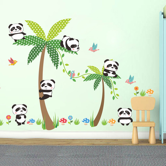 Lovely Panda Birds Palm Tree Wall Stickers Nursery Kids Room Decoration  Home Decor Cartoon Animal Decal Diy Mural Art Pvc Poster