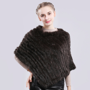 Image 4 - Fashion Real Rabbit Fur Poncho Genuine Real Rabbit Fur Shawl Scarf Knitted Elastic Women Party Real Natural Rabbit Fur Pashmina