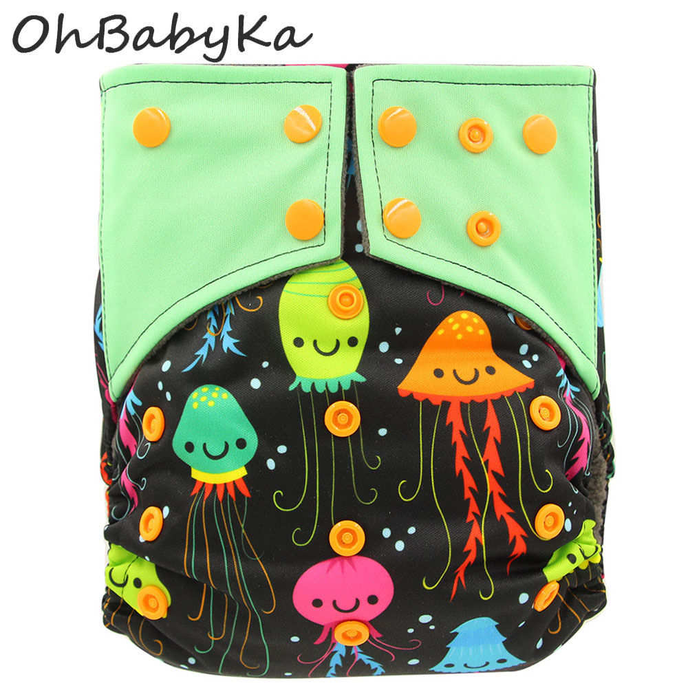 Ohbabyka Infant Reusable Diapers Cover Animal Print Pocket Diaper Washable Baby Cloth Diaper Bamboo Charcoal Kids Training Pants