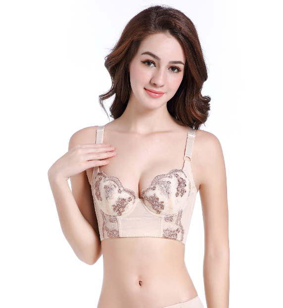 Fashion Lady Women's <font><b>bra</b></font> Underwire Deep-V <font><b>Sexy</b></font> Embroidered Side Support Push Up <font><b>Bra</b></font> Underwear B C <font><b>D</b></font> Cup 75 80 85 <font><b>90</b></font> 95 100 image