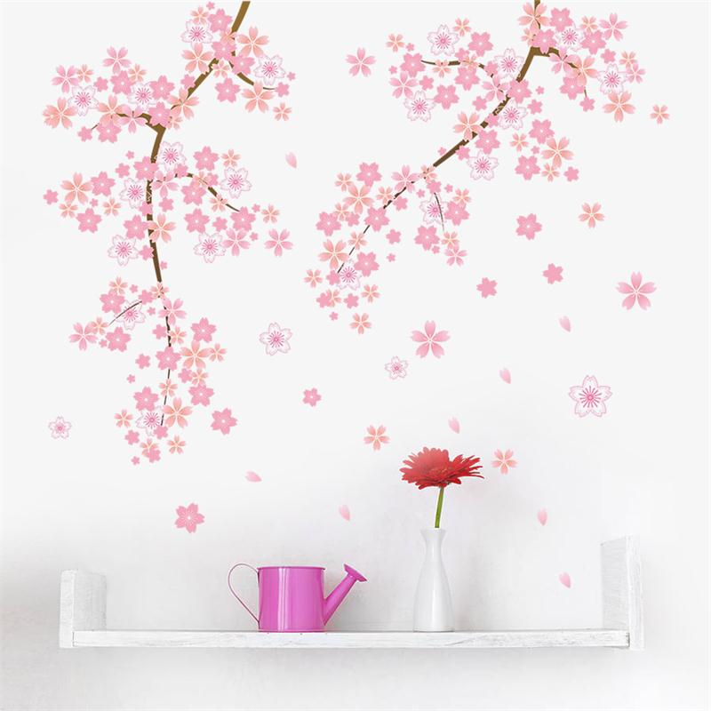 Pink Flower Branch Tree Cherry Blossoms Home Decoration Wall Stickers  Living Room Bedroom Family Modern Wall