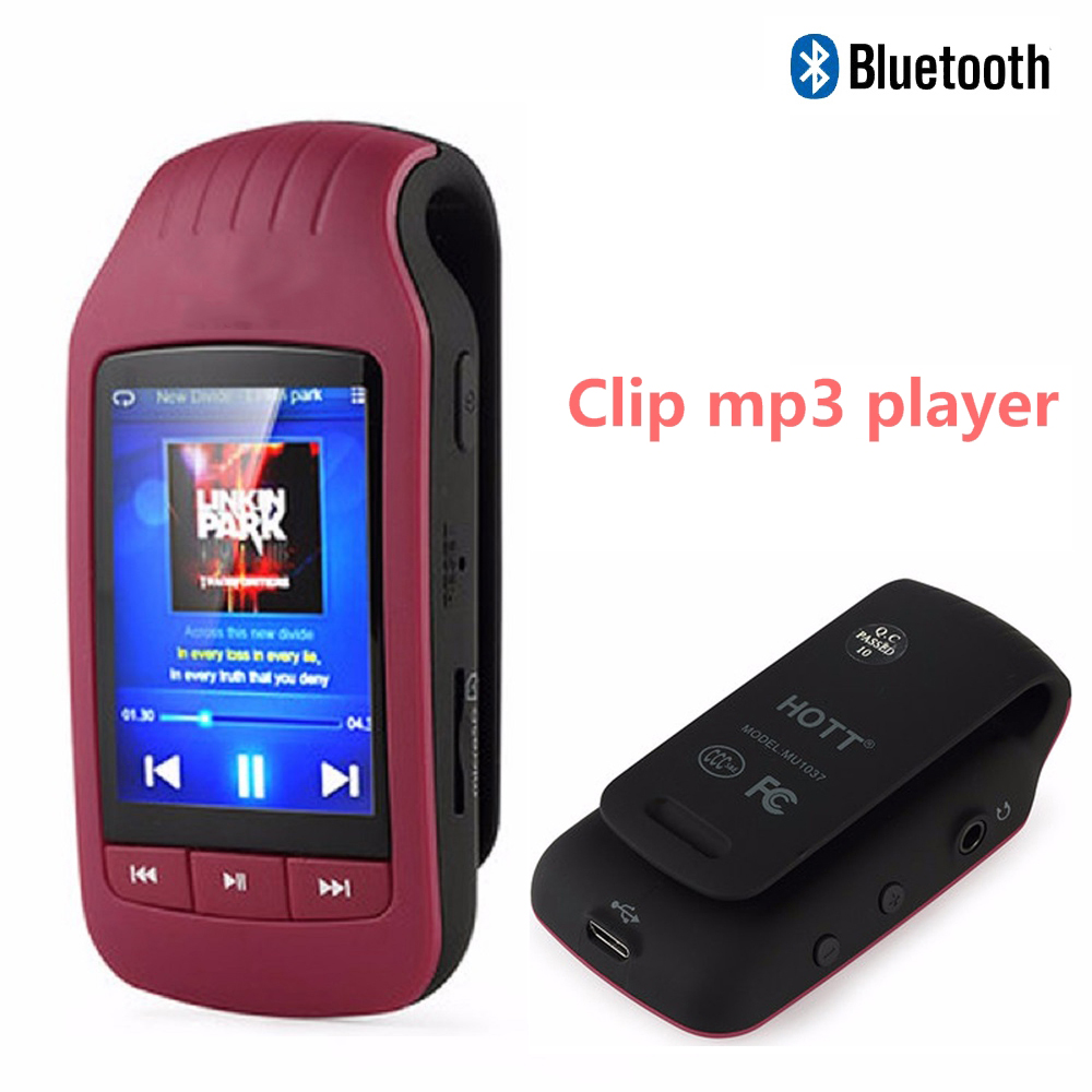 Mini Clip MP3 1037 Uus kaasaskantav MP3-mängija 8GB Sport Pedomeeter Bluetooth-mp3 muusikapleier FM-raadio TF-kaart 1.8 Ekraani stopper