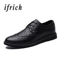 Ifrich Spring And Autumn Men Moccasins Shoes Classic Casual Sneakers For Men Brogue Designer Men Shoe Gray Khaki Dress Men Shoes
