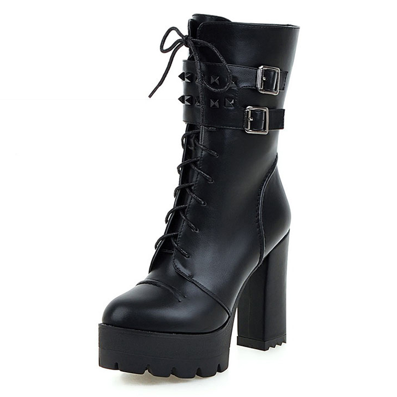 Size 34-43  High Quality Buckle Autumn Winter Boots Lady's Lace Up Short Boots Thick High Heels Platform Shoes Woman size 34 42 high quality short boots add fur platform winter shoes woman 2016 fashion thick high heels lace up shoes for women