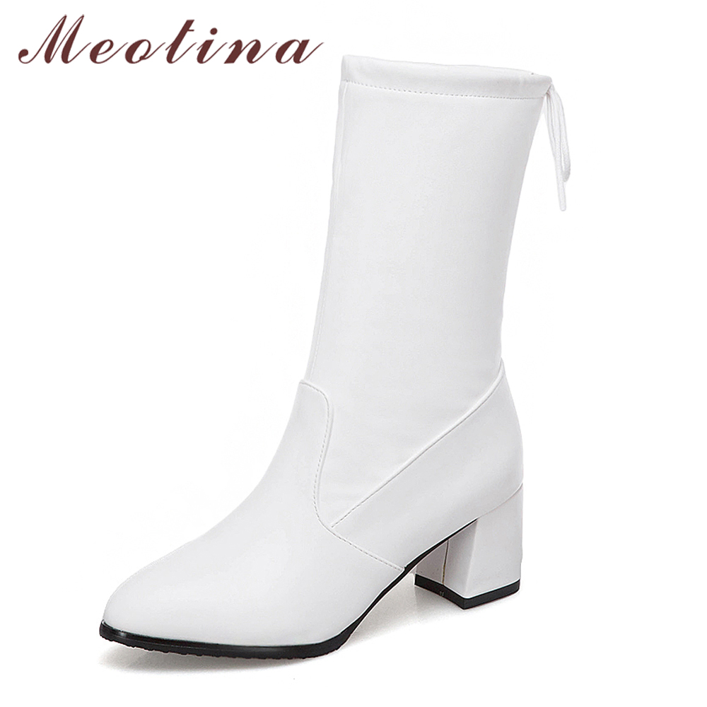 Meotina Mid Calf Boots Women Winter Pointed Toe Square Heel Boots Fashion Bow Female Lace Up Footwear Autumn White Black Size 10Meotina Mid Calf Boots Women Winter Pointed Toe Square Heel Boots Fashion Bow Female Lace Up Footwear Autumn White Black Size 10