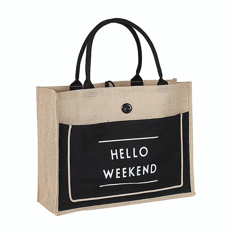 3 Color European Style Female Hello Weekend Jute Cotton Handbags Women Big Size Beach Bag For Girls Printing Shoulder Bags
