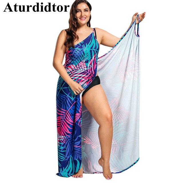 US $16.49 40% OFF|Aliexpress.com : Buy Tropical Leaf Print Plus Size Cover  Up Maxi Dress Plus Size Beach Dress Cover Up Cover Ups Big Size Tankini ...