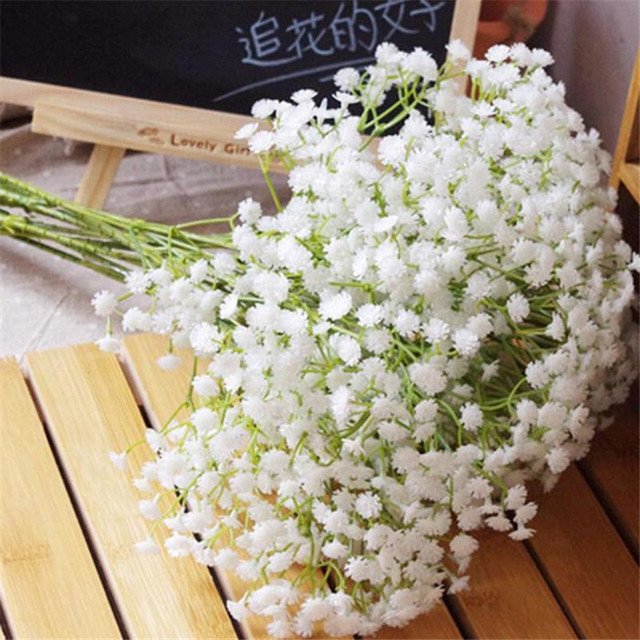 1PC Artificial Gypsophila Flower Silk Wedding Table Flower Bush Bridal  Bouquet Babyu0027s Breath Flowers 4 Colors