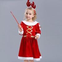 Children Santa Claus dress girl Christmas show dress winter cos dress